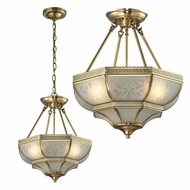 ELK 22006-3 French Damask Traditional Brushed Brass Ceiling Lighting / Pendant Lighting Fixture