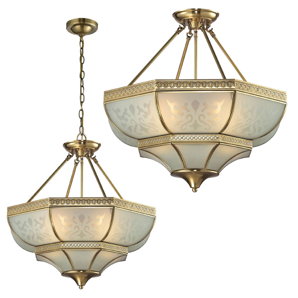 Elk 22007 4 French Damask Traditional Brushed Brass Ceiling Light Hanging Pendant Lighting