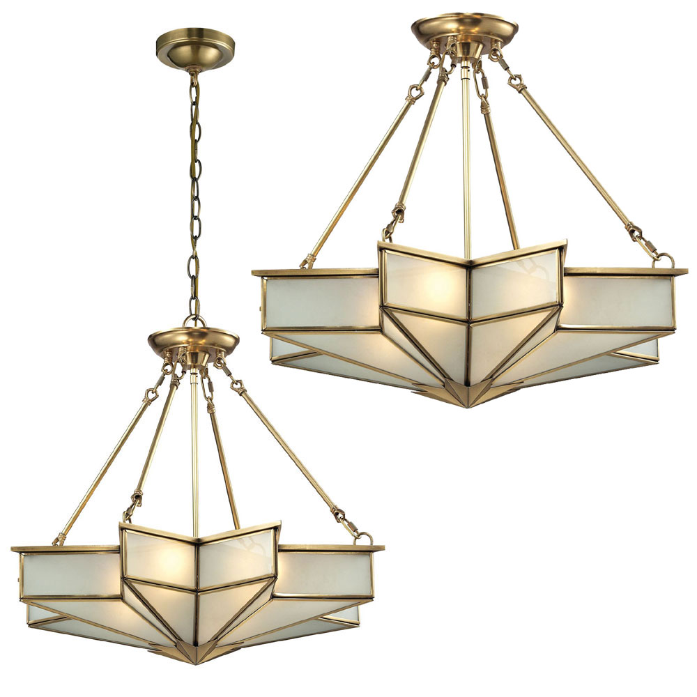Elk 22012 4 Decostar Modern Brushed Brass Ceiling Lighting Fixture Hanging Pendant Light Elk