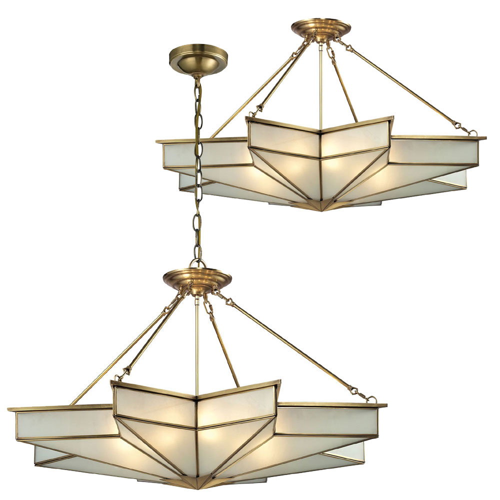 Elk 22013 8 decostar contemporary brushed brass ceiling for Modern hanging pendant lights
