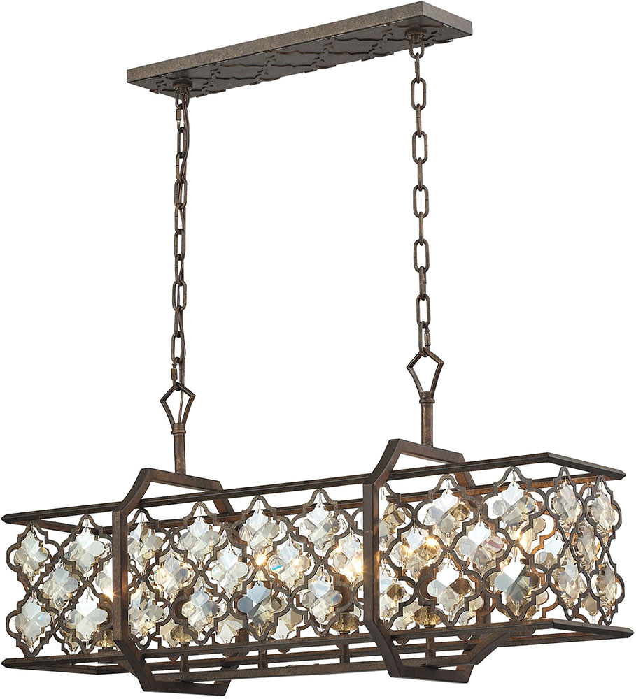 Elk 31098 6 armand weathered bronze kitchen island for Over island light fixtures