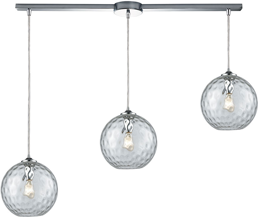 ELK 31380-3L-CLR Watersphere Contemporary Polished Chrome Multi Pendant Hanging Light. Loading zoom  sc 1 st  Affordable L&s & ELK 31380-3L-CLR Watersphere Contemporary Polished Chrome Multi ...