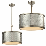 ELK 31424-3 Diamond Plate Brushed Nickel Flush Mount Light Fixture / Drop Lighting
