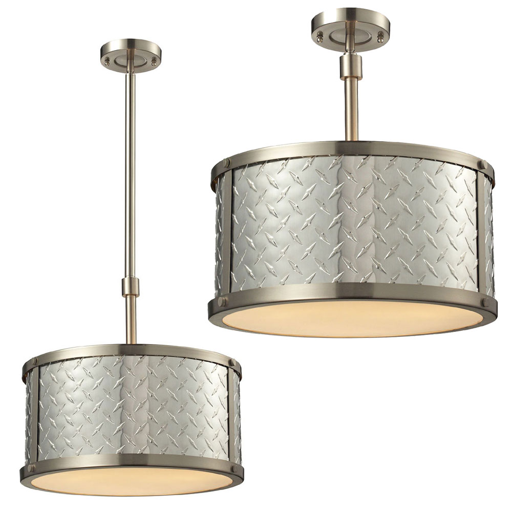 ELK 31424 3 Diamond Plate Brushed Nickel Flush Mount Light Fixture / Drop  Lighting. Loading Zoom
