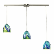 ELK 31445-3L-TB Colorwave Modern Satin Nickel Multi Pendant Lamp