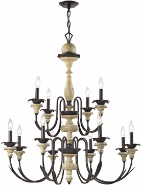 elk channery point oil rubbed bronze aged cream chandelier lighting