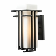 ELK 45085-1 Croftwell Contemporary Textured Matte Black Outdoor Wall Light Sconce