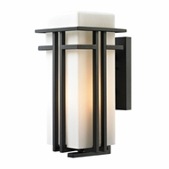 ELK 45087-1 Croftwell Contemporary Textured Matte Black Outdoor Wall Light Sconce