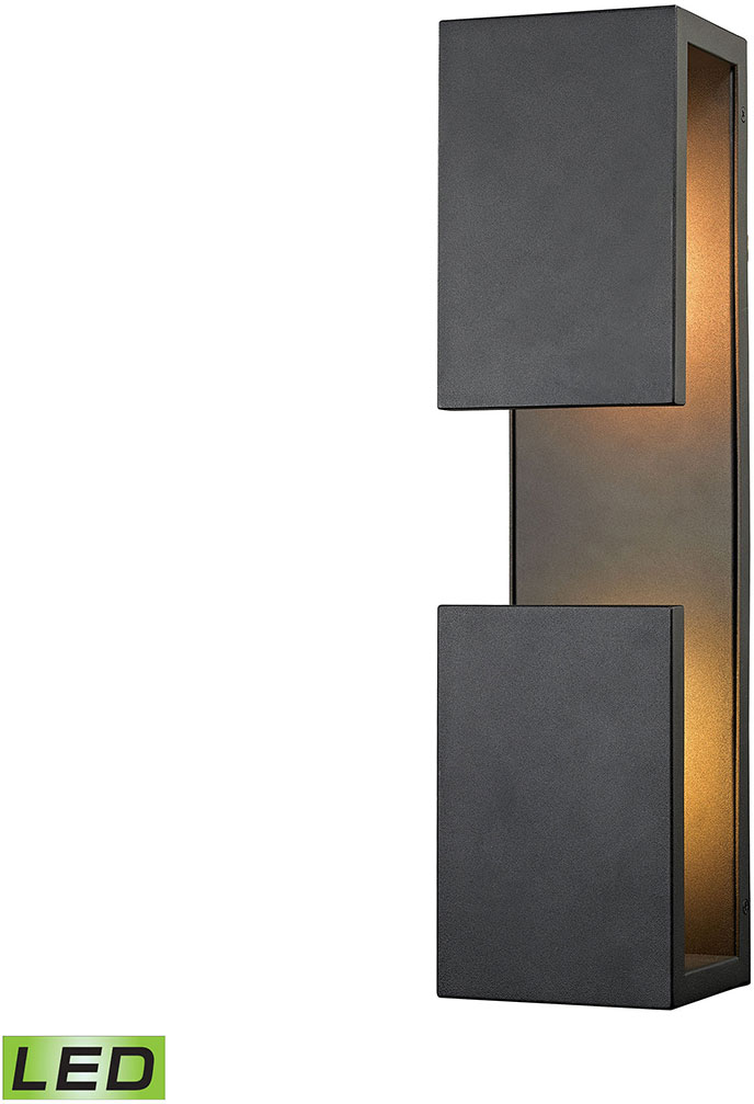 Elk 45232 led pierre contemporary textured matte black led outdoor wall light fixture elk for Contemporary exterior wall lights