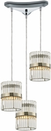 ELK 45284-3 Nescott Polished Chrome Halogen Multi Hanging Pendant Light