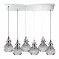 ELK 46014-6RC Danica Modern Polished Chrome Multi Drop Ceiling Light Fixture