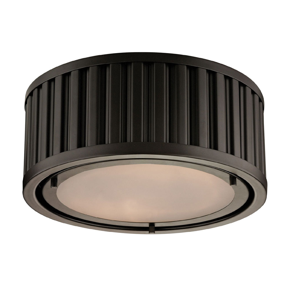 ELK 46130 2 Linden Oil Rubbed Bronze Flush Mount Lighting Fixture. Loading  Zoom