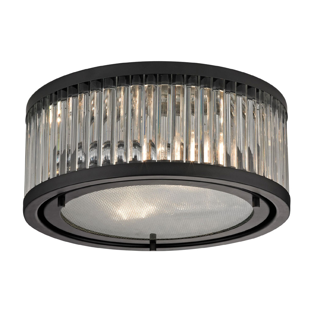 ELK 46132 2 Linden Oil Rubbed Bronze Flush Mount Ceiling Light Fixture.  Loading Zoom