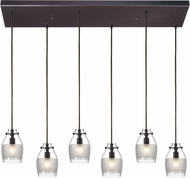 ELK 46162-6RC Carved Glass Contemporary Oil Rubbed Bronze Halogen Multi Hanging Pendant Lighting