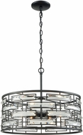 ELK 46194-6 Lineo Matte Black Drum Hanging Lamp