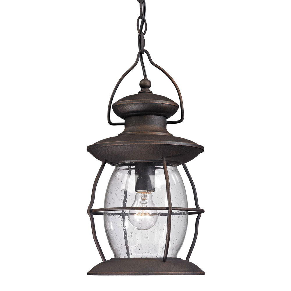 ELK 47043 1 Village Lantern Traditional Weathered Charcoal Outdoor Hanging Pendant Lighting Loading Zoom