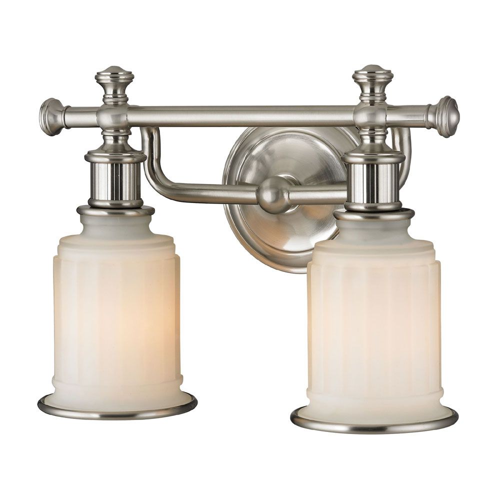 Elk 52001 2 acadia brushed nickel 2 light bathroom for Brushed nickel bathroom lighting fixtures