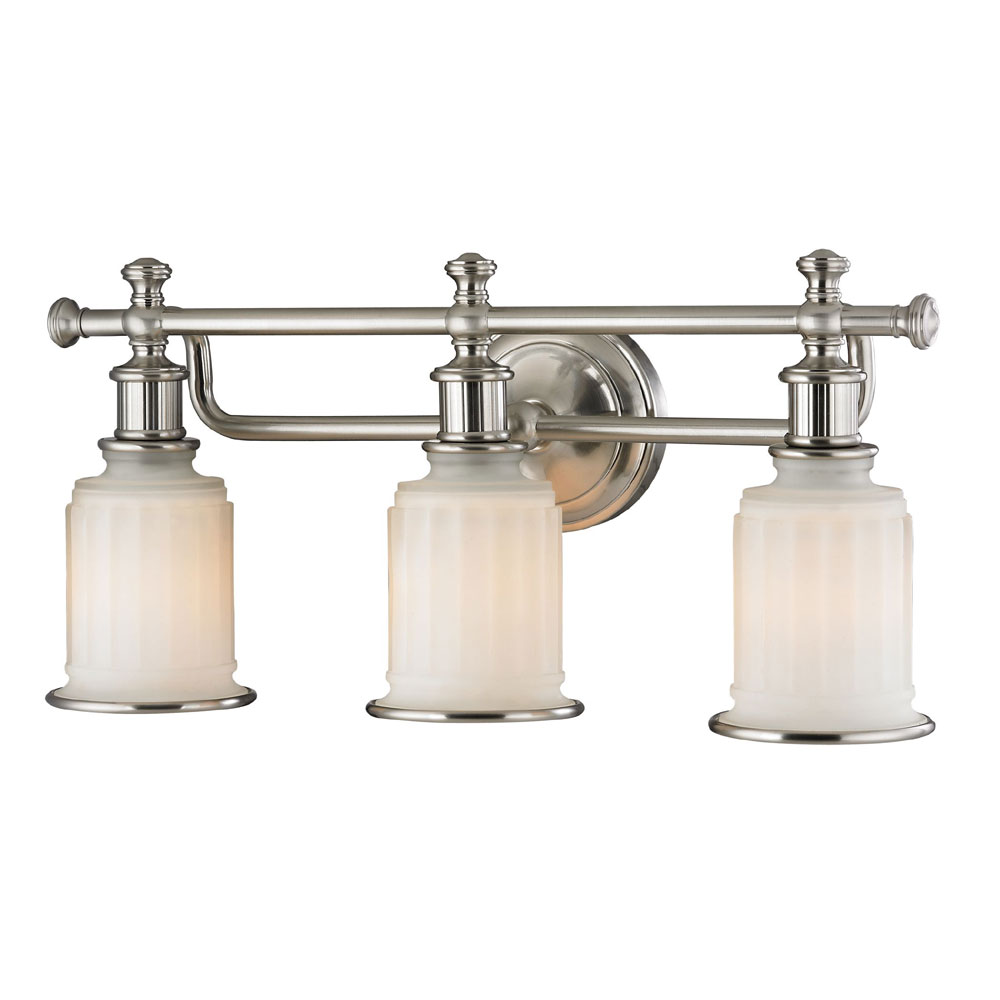 Elk 52002 3 acadia brushed nickel 3 light vanity lighting for Bathroom lighting fixtures