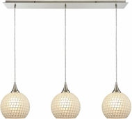 ELK 529-3LP-WHT Fusion Modern Satin Nickel Multi Drop Lighting Fixture
