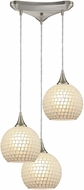 ELK 529-3WHT Fusion Modern Satin Nickel Multi Pendant Lamp