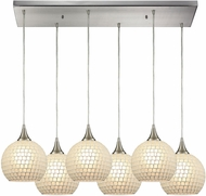 ELK 529-6RC-WHT Fusion Modern Satin Nickel Multi Pendant Lighting Fixture
