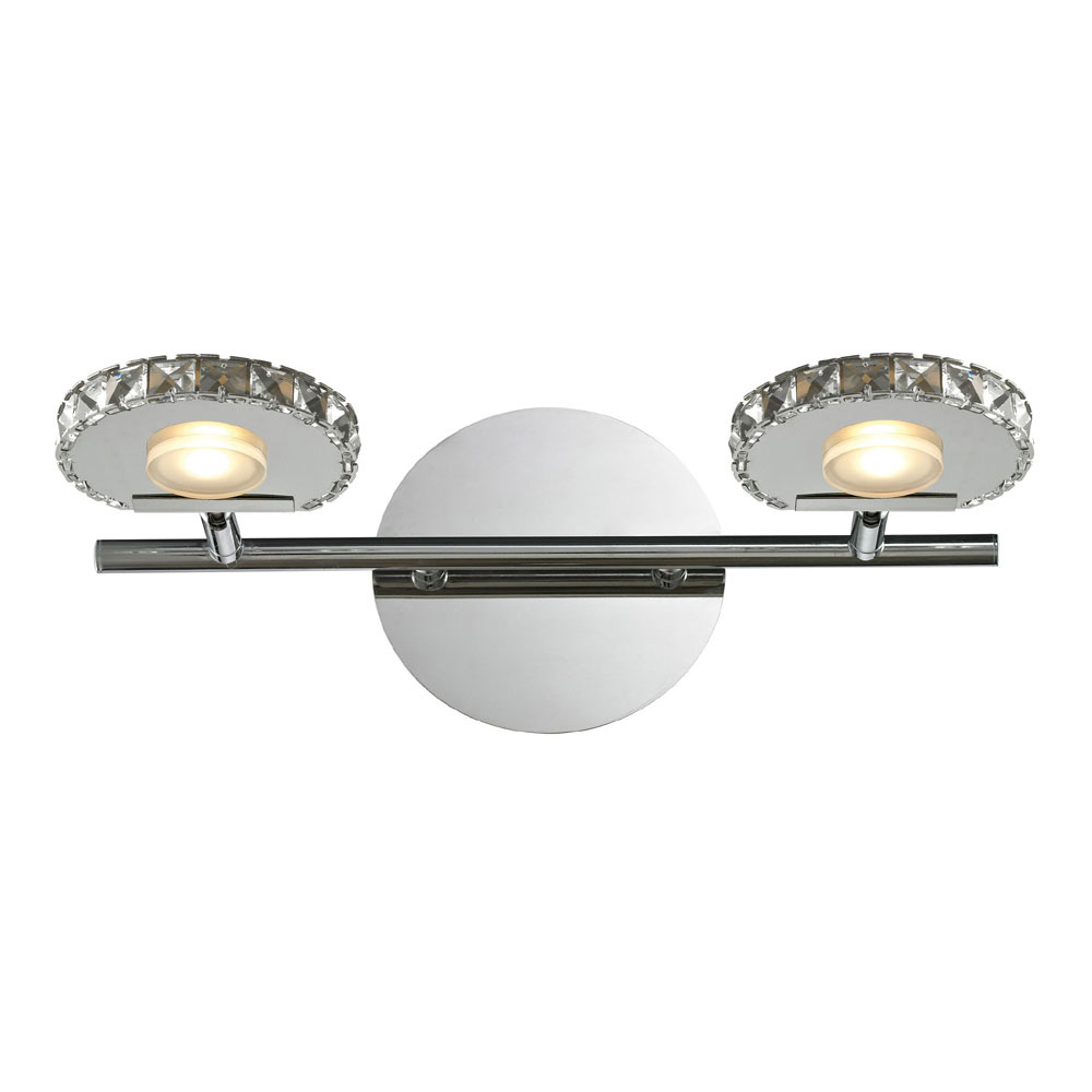 Modern Vanity Lighting Chrome : ELK 54001-2 Spiva Modern Polished Chrome LED 2-Light Bathroom Vanity Lighting - ELK-54001-2