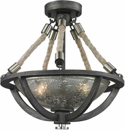 ELK 63052-2 Natural Rope Modern Silvered Graphite/Polished Nickel Overhead Light Fixture
