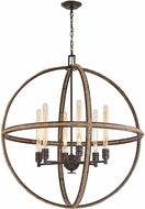 ELK 63066-6 Natural Rope Contemporary Oil Rubbed Bronze Hanging Chandelier