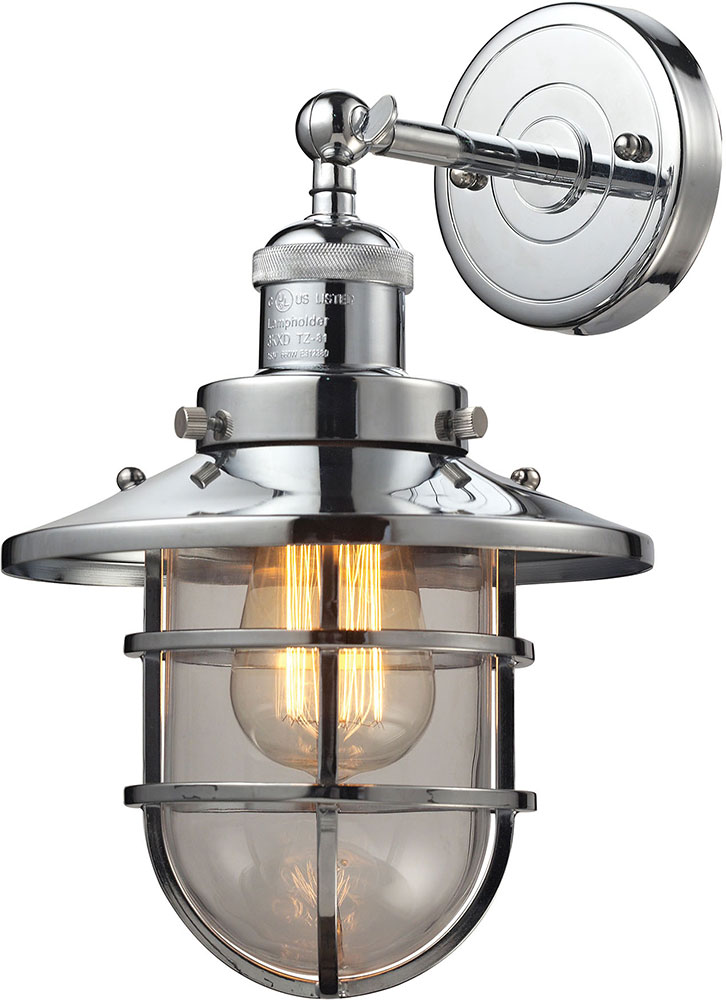 ELK 66346-1 Seaport Nautical Polished Chrome Sconce Lighting - ELK-66346-1