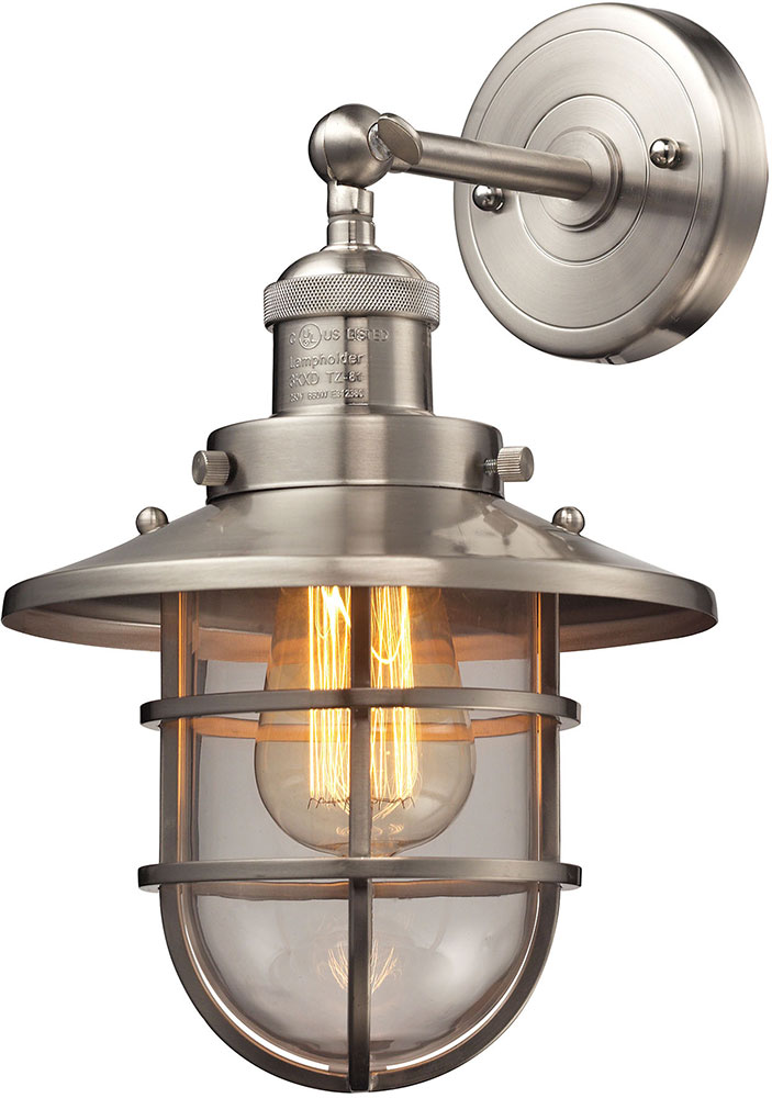 ELK 66356 1 Seaport Nautical Satin Nickel Lighting Sconce. Loading Zoom