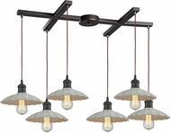 ELK 67041-6 Corrine Contemporary Oil Rubbed Bronze/White Multi Pendant Lamp