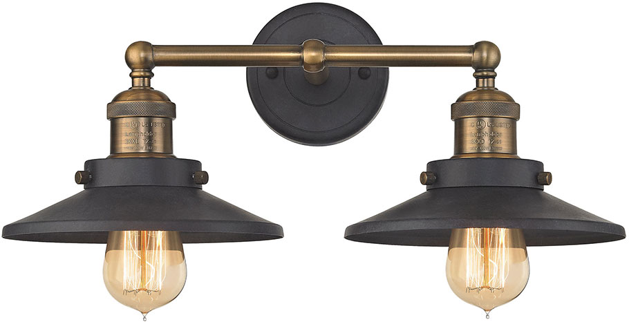 ELK 67181-2 English Pub Modern Antique Brass Tarnished Graphite 2-Light  Bath Wall. Loading zoom - ELK 67181-2 English Pub Modern Antique Brass Tarnished Graphite 2