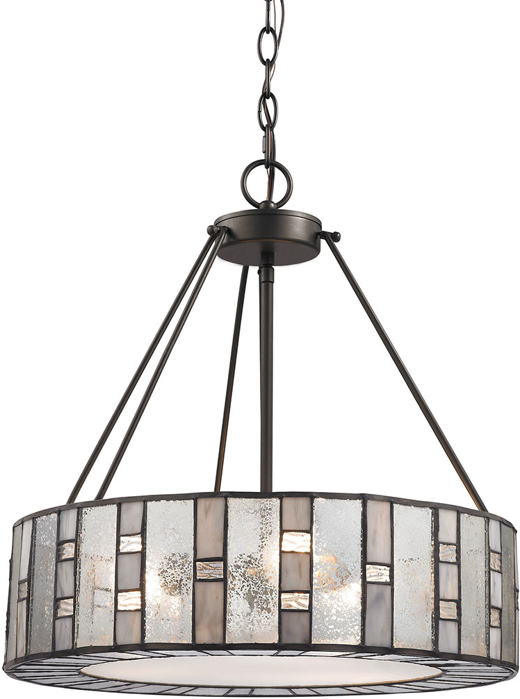 Elk 70212 3 ethan modern tiffany bronze drum hanging for Modern hanging pendant lights