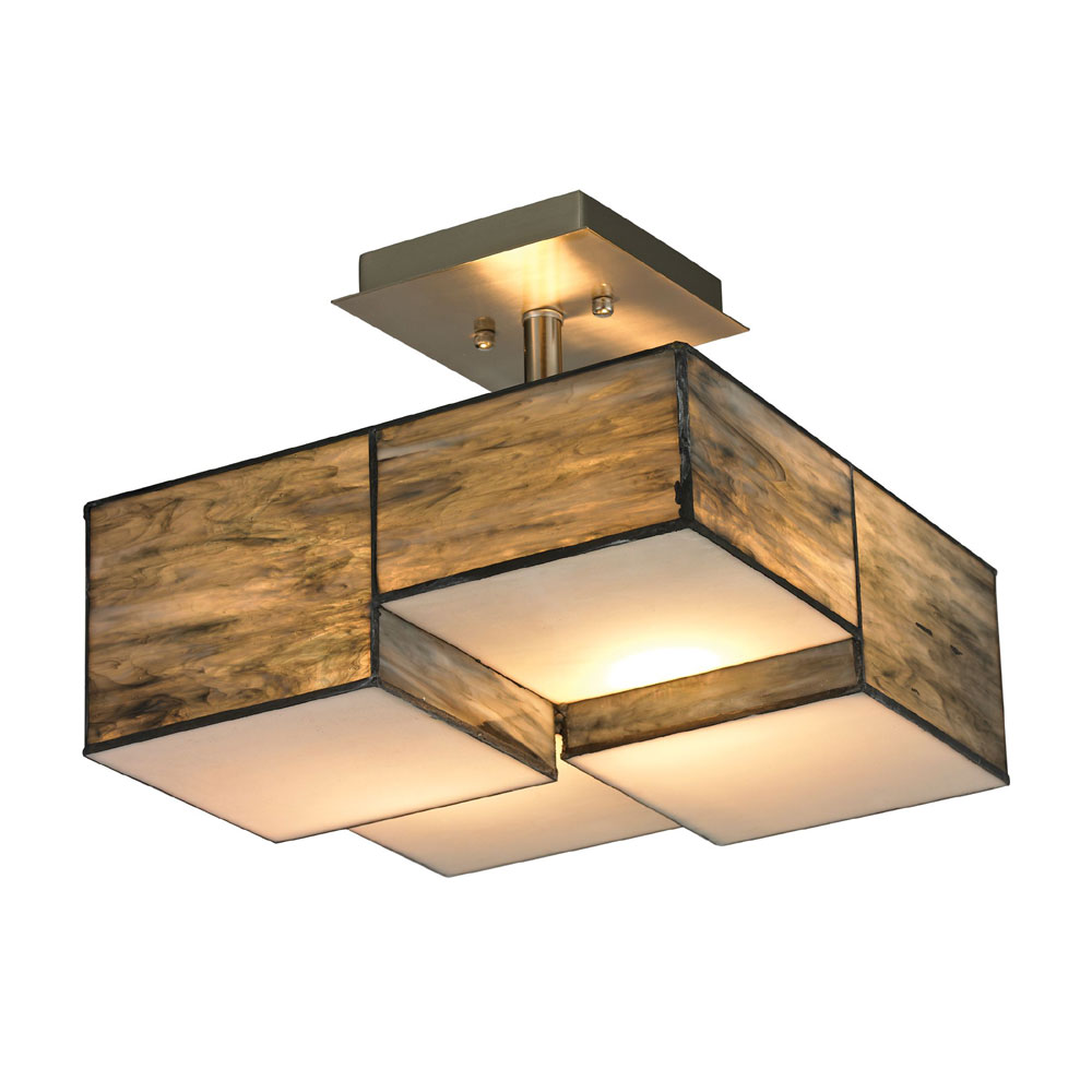 ELK 72071 2 Cubist Contemporary Brushed Nickel Flush Mount Light Fixture.  Loading Zoom