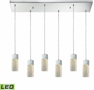 ELK 85107-6RC-LED Cubic Ice Contemporary Polished Chrome LED Multi Drop Ceiling Light Fixture