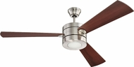 Craftmade TRI54BNK3 Triad Contemporary Brushed Polished Nickel LED 54 Ceiling Fan