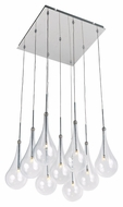 ET2 E20516-18PC Larmes LED Modern Polished Chrome Finish 14.5  Tall Multi Pendant Lighting