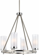 Feiss F2984-4SN-CH Jonah Satin Nickel / Chrome Fluorescent Mini Chandelier Light