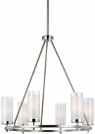 Feiss F2985-6SN-CH Jonah Satin Nickel / Chrome Fluorescent Chandelier Lighting