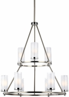 Feiss F2987-9SN-CH Jonah Satin Nickel / Chrome Fluorescent Lighting Chandelier