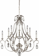 Feiss F3071-9SRS DeWitt Sunrise Silver Chandelier Lamp