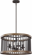 Feiss F3115-4WRI-TWO Locke Weathered Rusted Iron / Textured Weathered Oak Drum Pendant Light