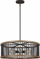 Feiss F3116-5WRI-TWO Locke Weathered Rusted Iron / Textured Weathered Oak Drum Lighting Pendant