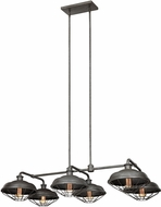 Feiss F3159-6SGM Lennex Retro Slated Grey Metal Island Light Fixture