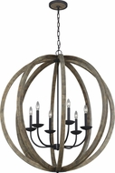 Feiss F3186-6WOW-AF Allier Weathered Oak Wood / Antique Forged Iron Chandelier Light