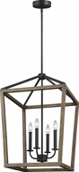 Feiss F3191-4WOW-AF Gannet Weathered Oak Wood / Antique Forged Iron 18  Foyer Light Fixture