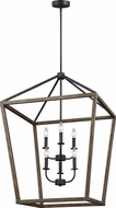 Feiss F3192-6WOW-AF Gannet Weathered Oak Wood / Antique Forged Iron 25.5  Foyer Lighting Fixture