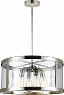 Feiss F3199-4PN Harrow Polished Nickel Drum Pendant Light