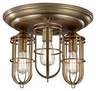 Feiss FM378DAB Urban Renewal 3 Light Brass Ceiling Light with 3 Lights