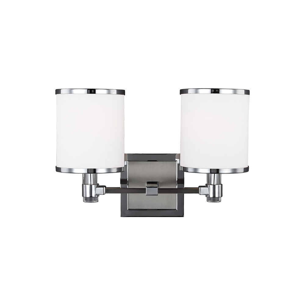 Feiss Vs23302sn Ch Prospect Park Satin Nickel Chrome 2 Light Bathroom Wall Light Fixture Mf